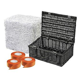 25 Black Wicker Picnic Basket Gift Packs 30cm Basket