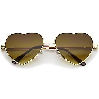 Small Thin Metal Frame Temples Colored Gradient Lens Heart Sunglasses 52mm