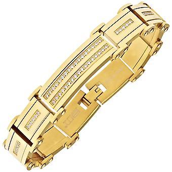 Iced ut solid rostfri cubic zirconia armband - 16mm guld