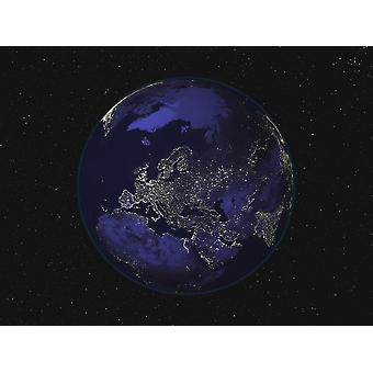 Full Earth at night showing city lights centered on Europe Poster Print