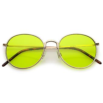 Bold Full Metal Frame Round Sunglasses With Color Tinted Flat Lens 52mm