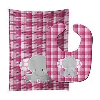 Carolines Treasures  BB6952STBU Elephant Pink Gingham Baby Bib & Burp Cloth