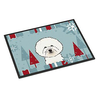 Winter Holiday Bichon Frise Indoor or Outdoor Mat 18x27