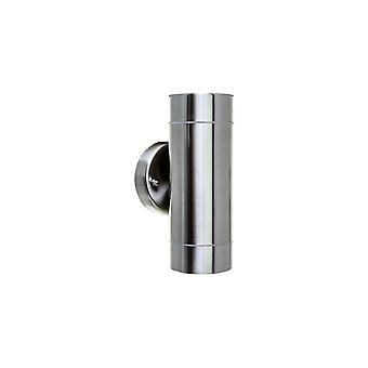 Timeguard acero inoxidable cilindro exterior IP65 arriba y abajo de la lámpara de pared