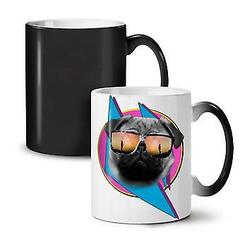 Cool Pug Glasses Cute NEW Black Colour Changing Tea Coffee Ceramic Mug 11 oz | Wellcoda