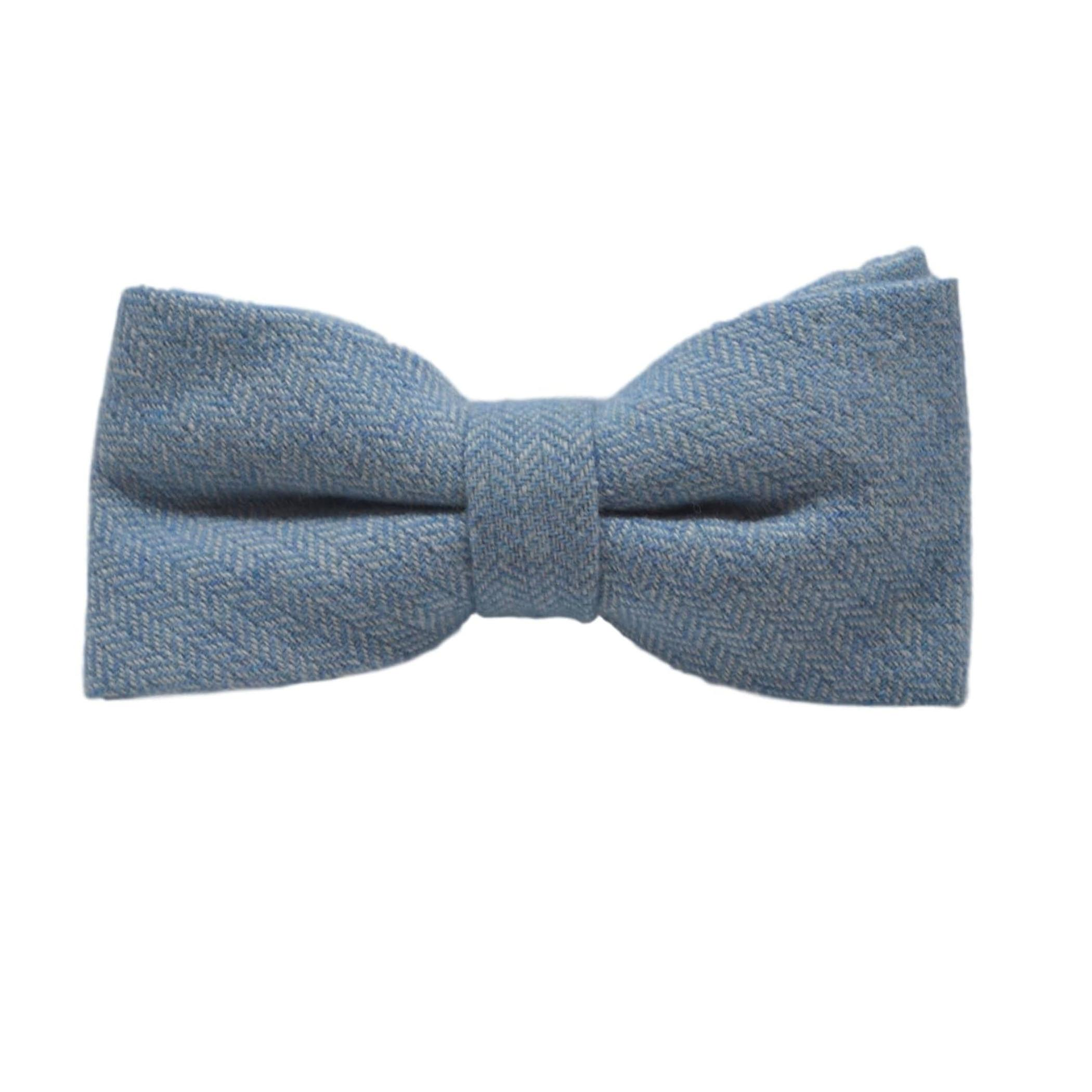 Sky Blue Herringbone Bow Tie & Pocket Square Set