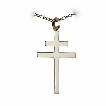 Silberne 32x21mm einfaches Kreuz von Lothringen