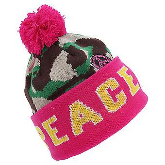 Chapéu de inverno Bobble para crianças meninas paz/amor