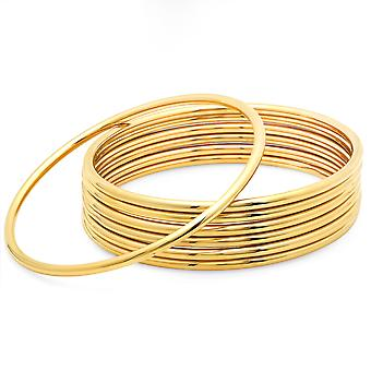 Ladies 18K Gold Plated Stainless Steel Set Of 7 Classic Bangles