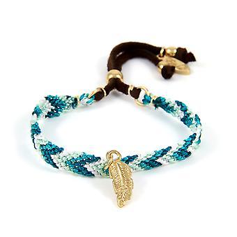 Ettika - veer en katoen gevlochten Friendship Bracelet blauw