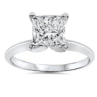 1ct Solitär-Diamant-Ring 14K Weissgold