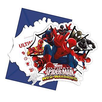Uitnodiging uitnodigingen uitnodiging Spiderman krijgers kids party verjaardag 6 stuks