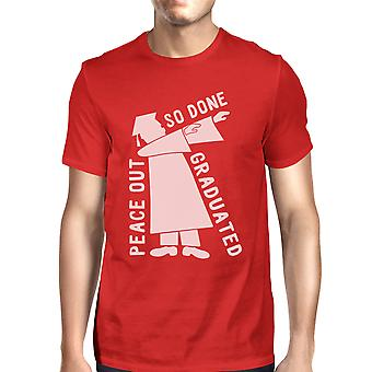 Graduated Dab Dance Mens Red Funny Graduation Tee Round Neck Cotton