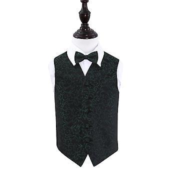 Zwarte & groene Swirl bruiloft gilet & strikje Set voor jongens