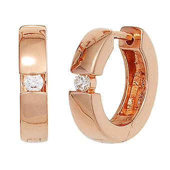 Hoops around 925 sterling silver red gold plated 2 cubic zirconia earrings silver