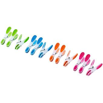 Multicoloured Soft Grip Clothes Pegs Washing Line - Set of 25