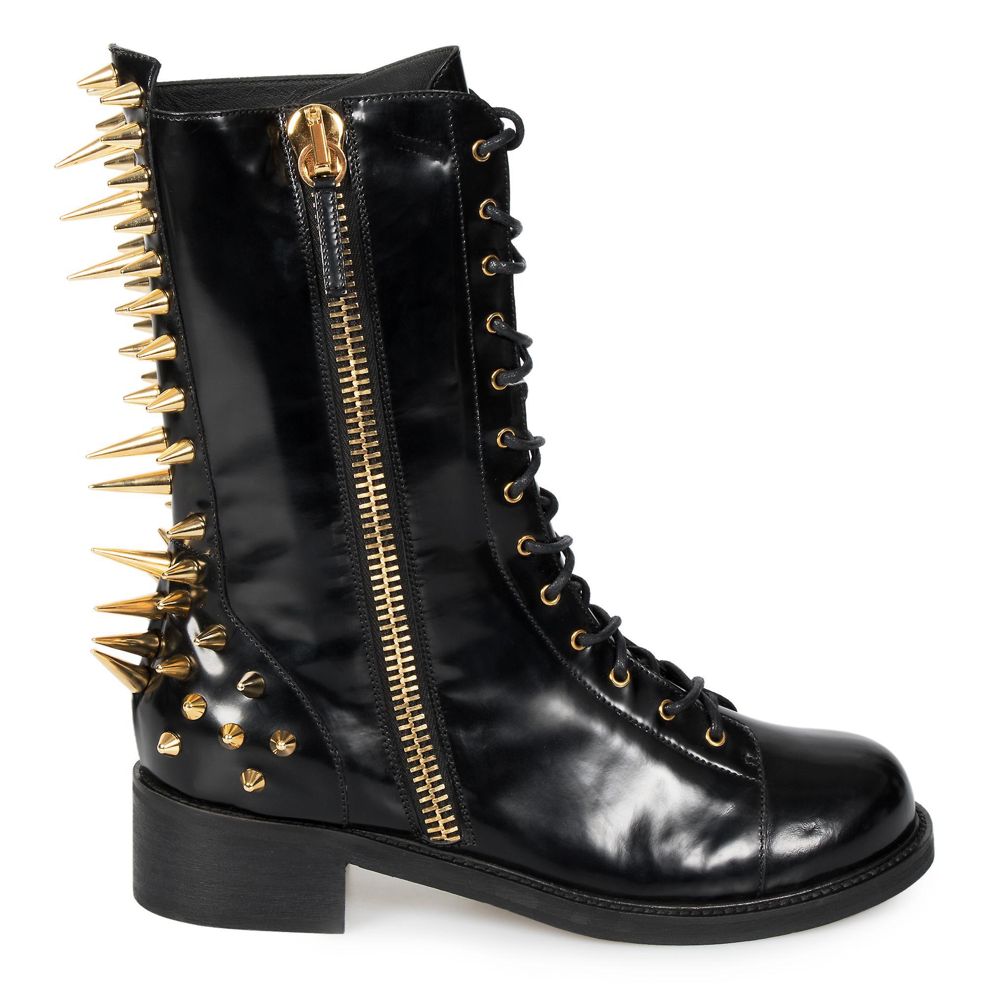 Giuseppe Zanotti Blok Spiked Military Black Patent Leather Boots