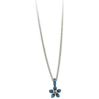 Ti2 Titanium Small Five Petal Flower Pendant - Sky Blue