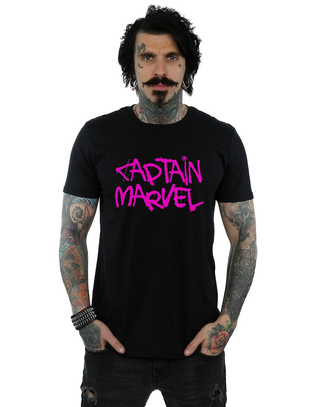 Marvel Men's Captain Marvel Spray Text T-Shirt