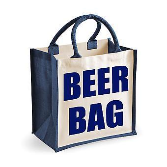Piwo torba średniej jutowe granatowy