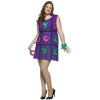 Womens Noughts & Crosses Plus Size Game Novelty Funny Fancy Dress Costume