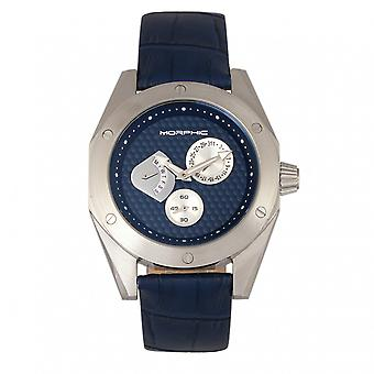 M46 mórficos serie banda de cuero reloj w/fecha-plata/azul marino
