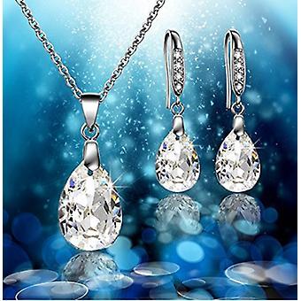 Water Drop 925 Sterling Zilveren halsketting & Drop Oorbellen