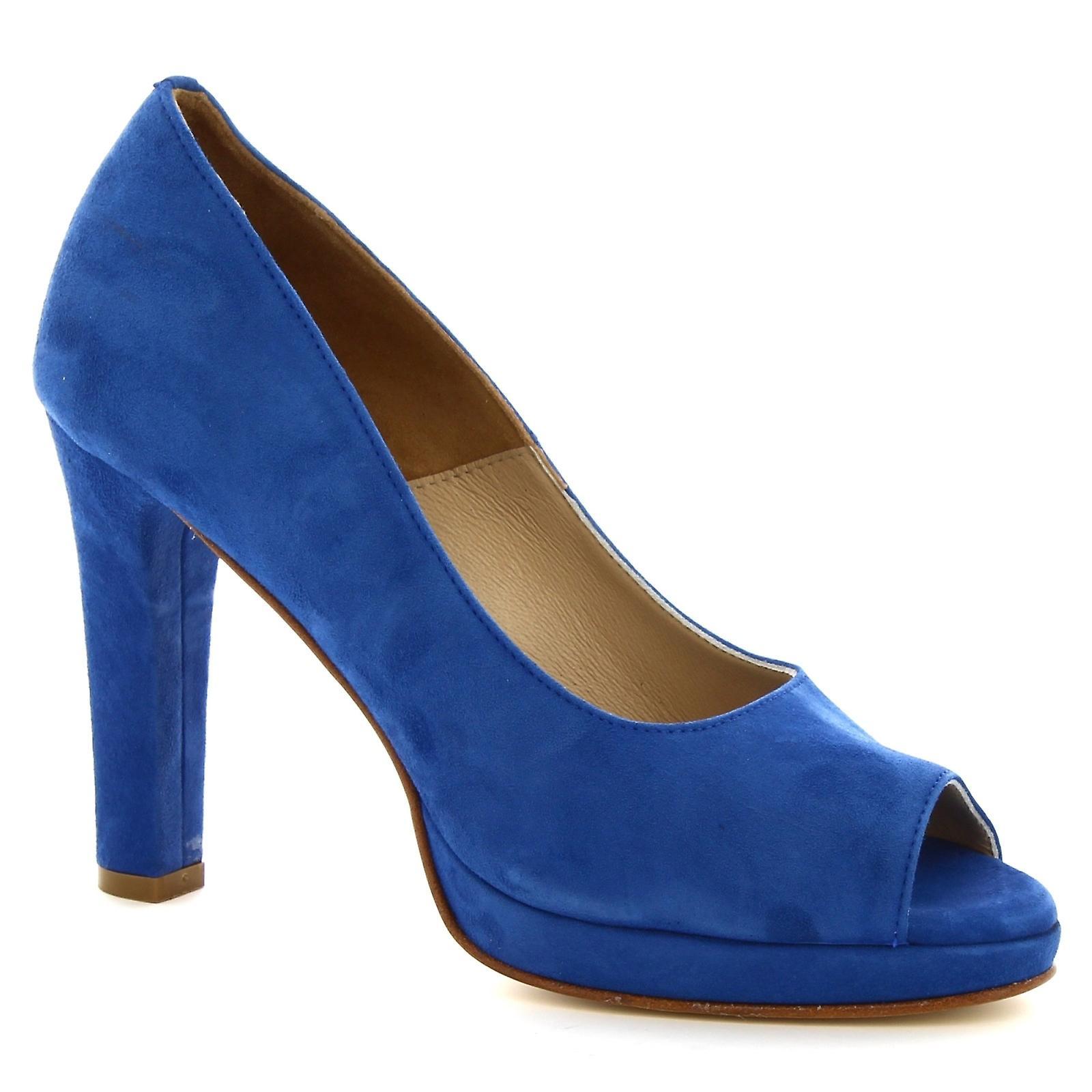 Leonardo Shoes Women's handmade open-toe pumps in deep blue suede leather RfJNJ