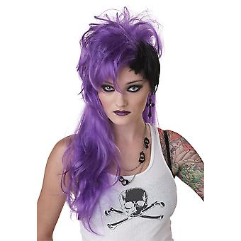 Smash Punk Purple Black 80s Rocker Rock Women Costume Wig