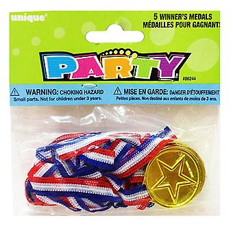 Unique Party Winners Medals With Neck Cord (Pack Of 5)