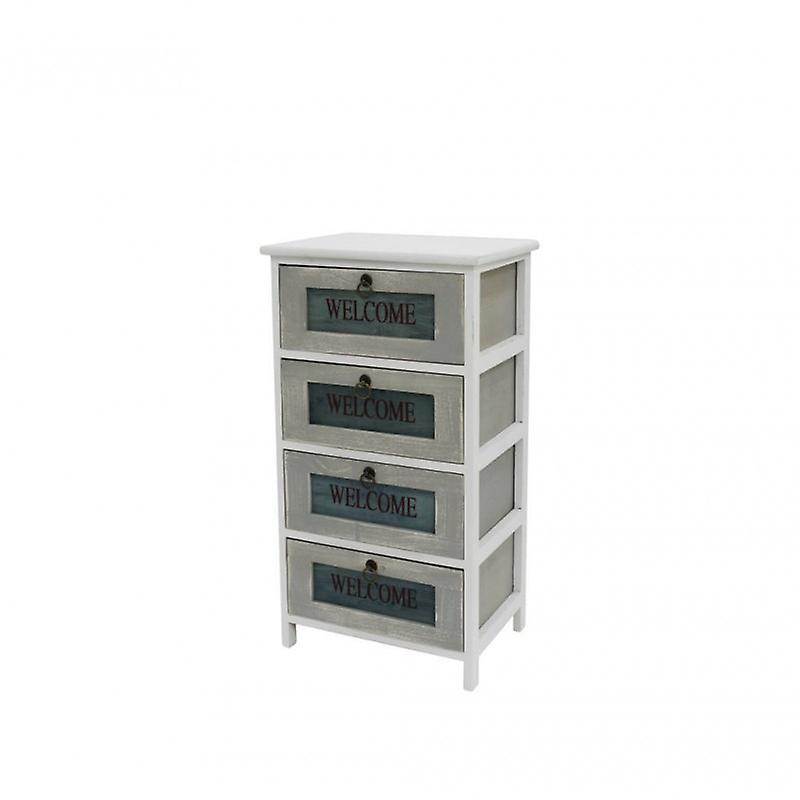 Meubles Rebecca CassettiA 7mino 4 White Wood Drawers Retro 73x40x29