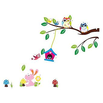 Wall decor-2 ugler og Birdhouse 117 x 89 cm