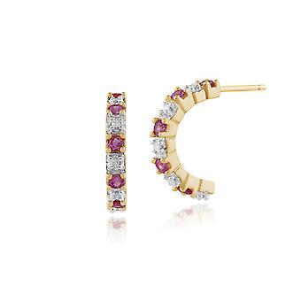 Gemondo 9ct желтое золото 0,24 ct розовый сапфир & алмаз половину стиль серьги обруча