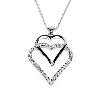 VIP Silver Plated Double Heart Crystal Set Pendant And Chain