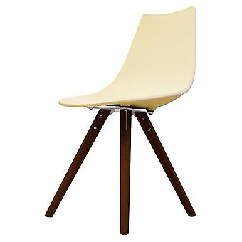 Fusion Living Iconic Vanilla Plastic Dining Chair With Dark Wood Legs