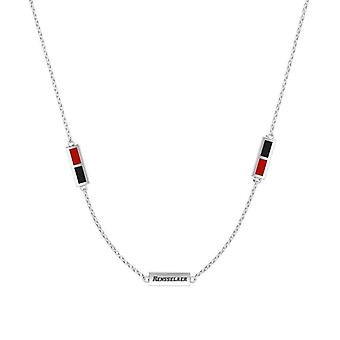 Rensselaer Polytechnic Institute Sterling Silver Engraved Triple Station Necklace In Red & Black