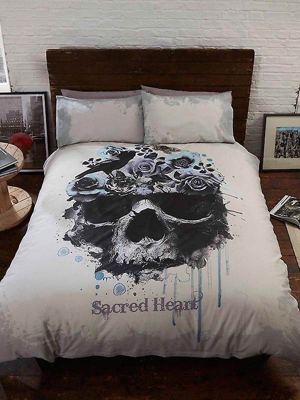 Sacred Heart Skull Double Duvet Cover and Pillowcase Set