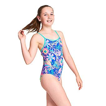 Zoggs Girls Ocean Play Yaroomba Floral One Piece Maillot de bain - Blue/Multi