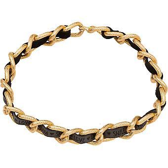 Gemshine halsband hög kvalitet guldpläterade halsband med svart läderrem