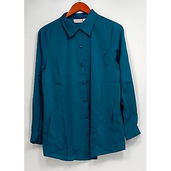 Joan Rivers Classics Collection Women's Top Silky Long Sleeve Blue A258337