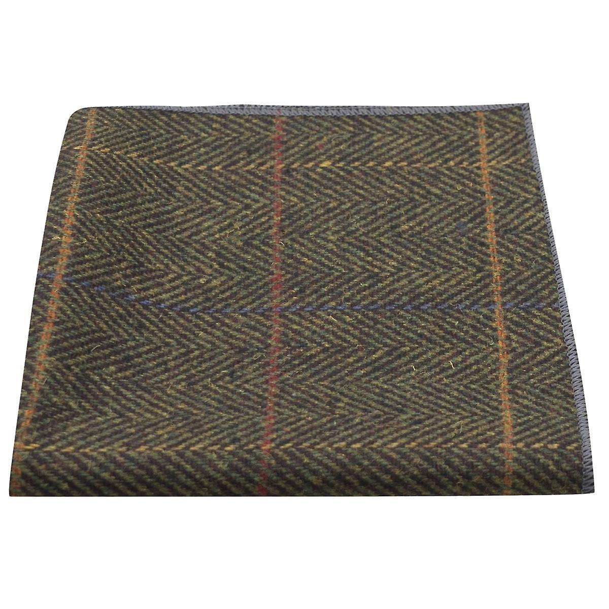 Luxury Dark Olive Green Herringbone Check Pocket Square, Handkerchief, Tweed