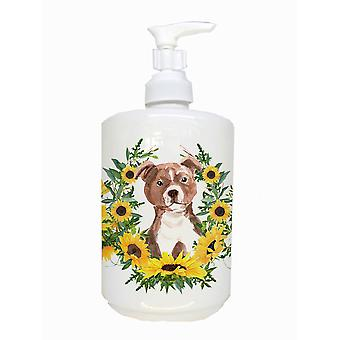 Carolines Schätze CK2930SOAP red Staffie Bull Terrier Keramik Seife Dispenser