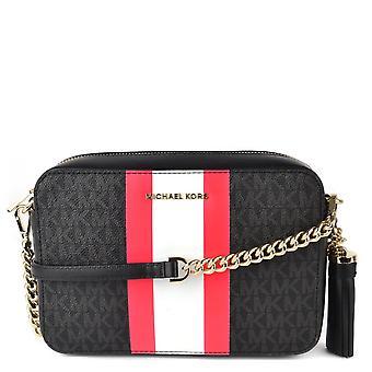 MICHAEL by Michael Kors Ginny Black Stripe Medium Camera Bag