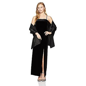 Alex Evenings Women's Petite Long Column Dress with Satin, Black, Size 14.0