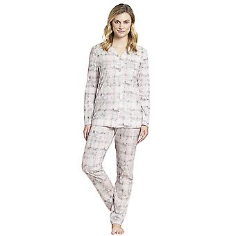 Rosch 1193531-16413 Women's Smart Casual Pink Paisley Check Cotton Pyjama Set