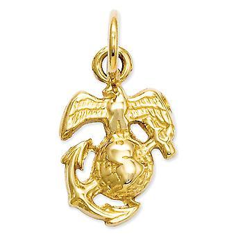 14k Ouro Amarelo Sólido Dourado Sólido Plano Polido de volta U. Marine Corps Charm Necklace Measures 16x9.4mm Joias presentes para W