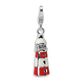 925スターリングシルバーロジウムメッキファンシーロブスタークロージャーエナメルクリスタルクライス灯台ロブスタークラスプチャームペンダント付き