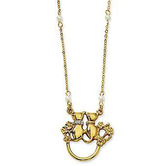 Gold-Ton Fancy Hummer Verschluss Katzen Glasperlen Brillenhalter 28 In Halskette Schmuck Geschenke für Frauen