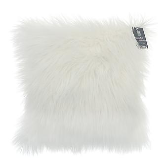 Country Club Long Pile Cushion, White with Glitter