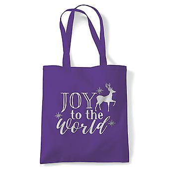 Joy To The World Tote | Christmas Xmas HoHoHo Season Greetings Merry | Reusable Shopping Cotton Canvas Long Handled Natural Shopper Eco-Friendly Fashion